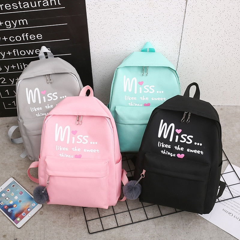 Miss Likes The Sweet Things Backpack Set (4 Pieces)