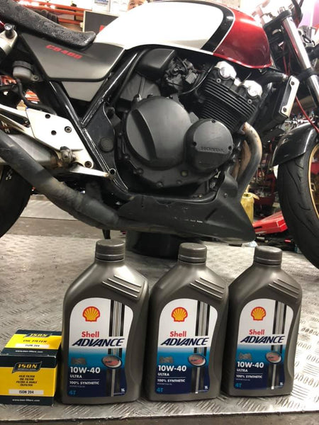 Shell Advance Ultra 10w40 Fully Synthetic 4T 10w40 x 3 bottles + oil filter $65 for Super 4 CB400