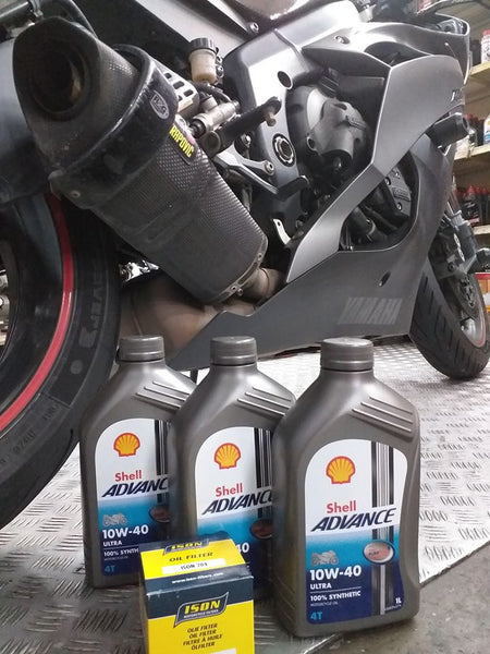 Shell Advance Ultra 10w40 Fully Synthetic 4T 10w40 x 3 bottles + oil filter $65 for R6