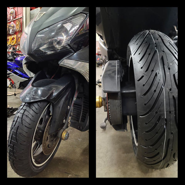 Michelin PR4 installed on a Yamaha T-Max.  120/70-15 + 160/60-15