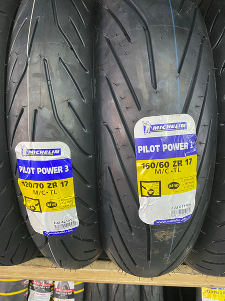 Michelin pilot power 3 120/70-17 and 160/60-17 $330 2019 tyres