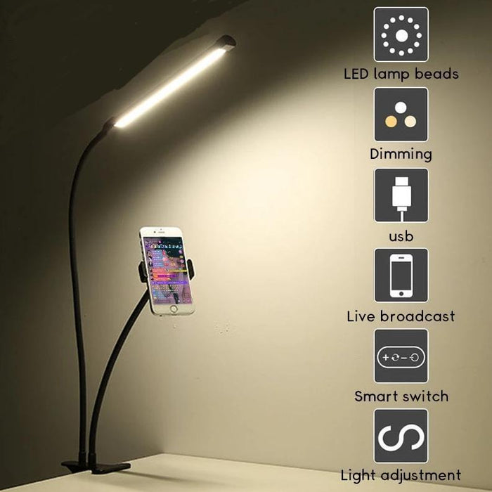 2 in 1 Long Arm Phone Holder With Dimmable LED