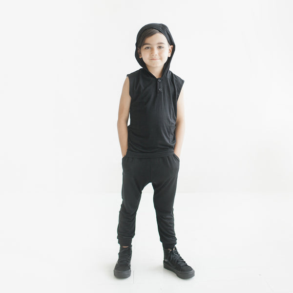 Warrior Sleeveless Hoodie (Black)