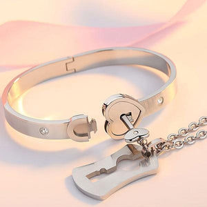 HEART LOCK BRACELET & KEY NECKLACE