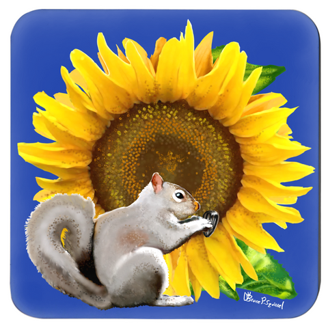 Sunflower Squirrel Navy Blue Coaster Set
