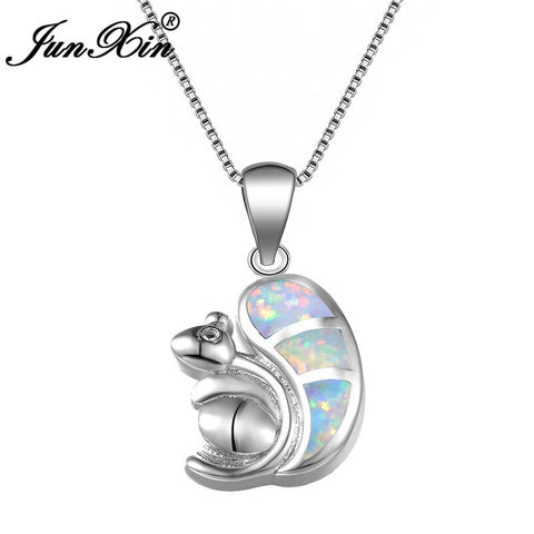 Fire Opal Squirrel necklace pendant