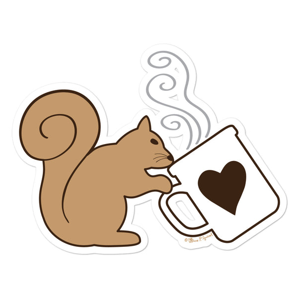 Brown Squirrel Sipping Coffee - Bubble-free sticker