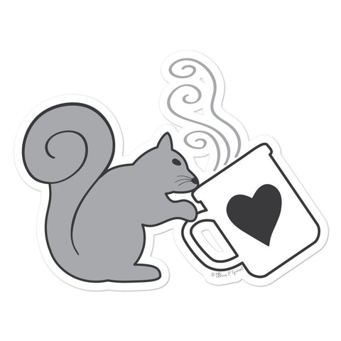 Gray Squirrel Sipping Coffee - Bubble-free sticker