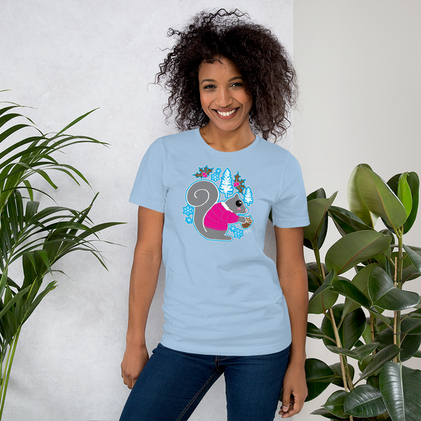 Holiday Kawaii Squirrel -Short-Sleeve Unisex T-Shirt