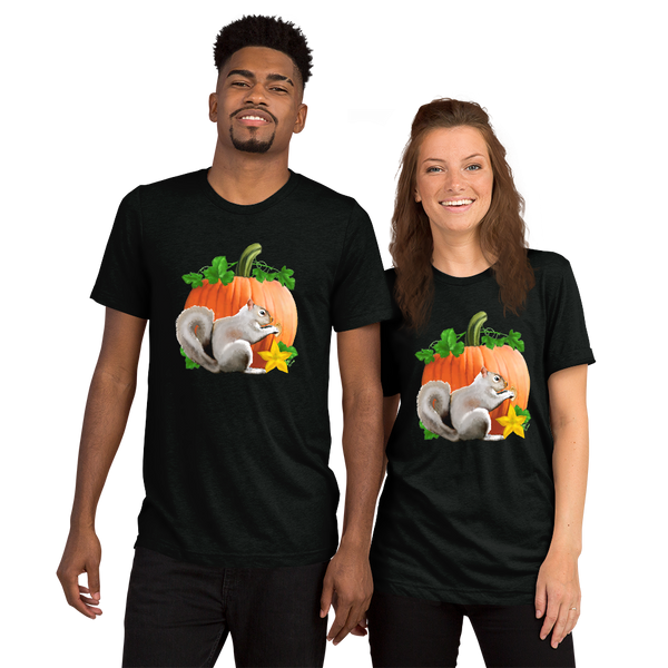 Pumpkin Squirrel - Unisex Tri-blend Short sleeve t-shirt