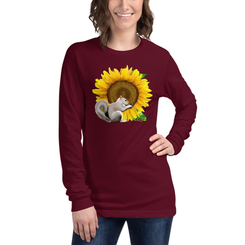 Sunflower Squirrel - Unisex Long Sleeve Tee