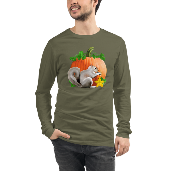 Pumpkin Squirrel - Unisex Long Sleeve Tee