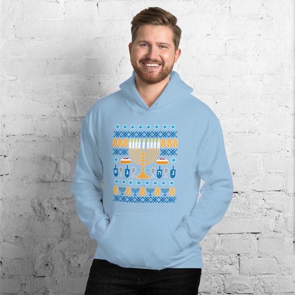 "Hanukkah ""Ugly Sweater"" - Light Blue - Unisex Hoodie - 2020"
