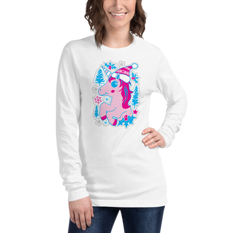Holiday Unicorn Kawaii - Unisex Long Sleeve Tee