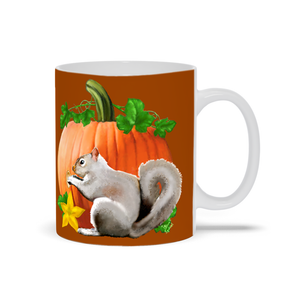 Pumpkin Squirrel 11 oz. Mug - Burnt Orange