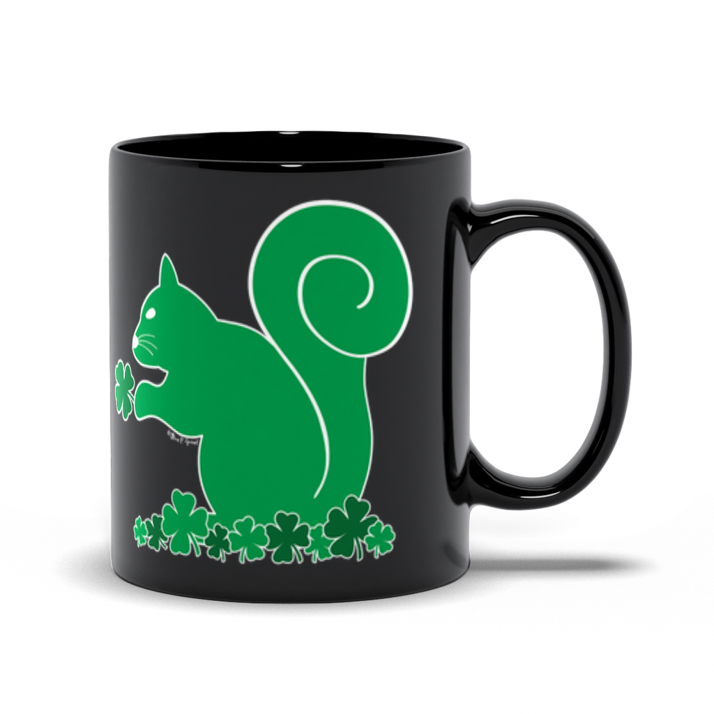 Shamrock Squirrel - Black Mugs