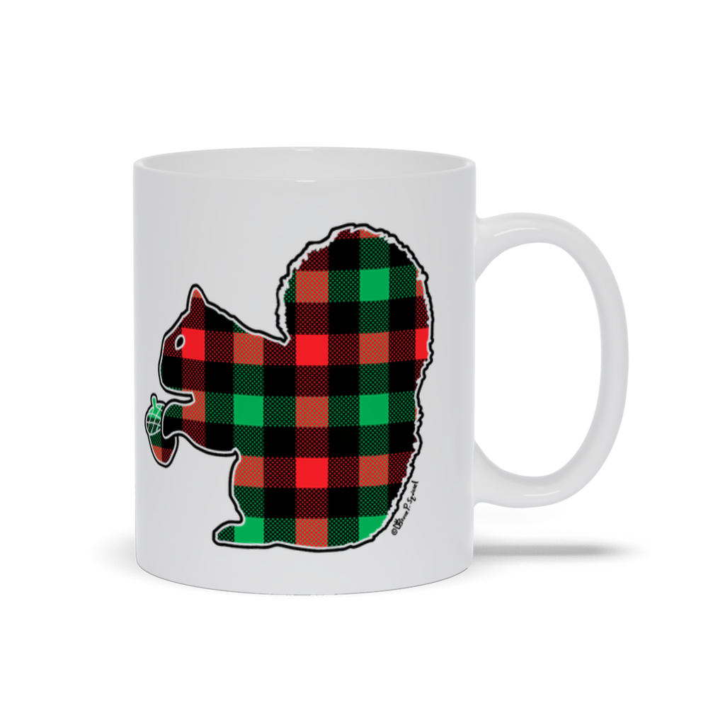 Plaid Squirrel Holiday- 11oz. Mug