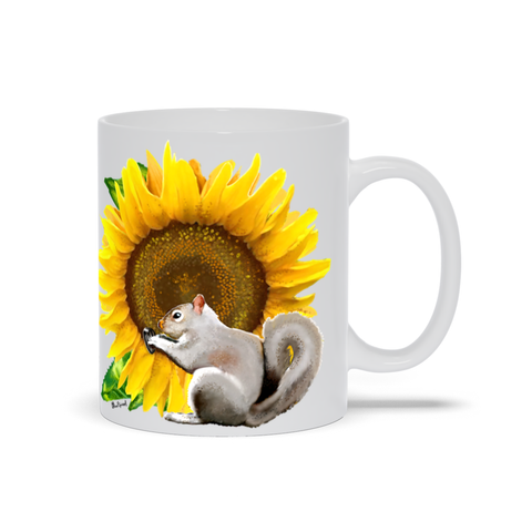 Sunflower Squirrel 11 oz. Mug - White