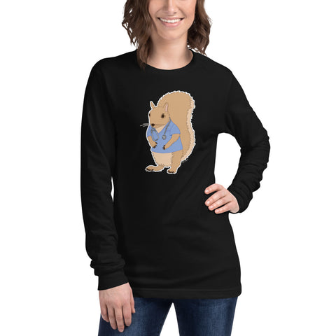 Squirrel Wearing Scrubs - Unisex Long Sleeve Tee