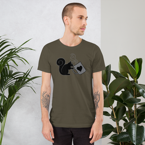 North American Black Squirrel Sipping Coffee - Short-Sleeve Unisex T-Shirt