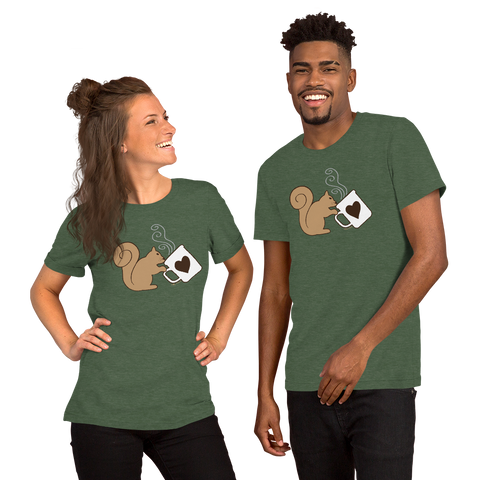 Brown Squirrel Sipping Coffee - Short-Sleeve Unisex T-Shirt