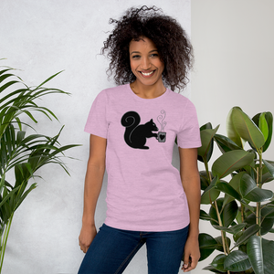 North American Black Squirrel Holding Coffee - Short-Sleeve Unisex T-Shirt