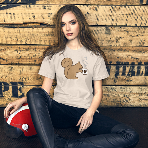Brown Squirrel Holding Coffee - Short-Sleeve Unisex T-Shirt