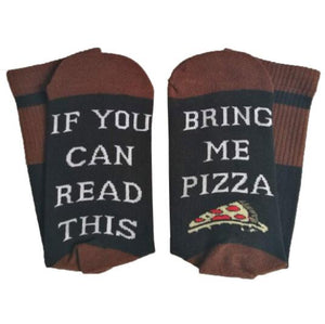Women Men Funny Cotton Socks if you can read this bring me a Pizza Beer Wine Donut Coffee Humor Words Female printed Xmas Sock