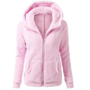 Laamei 2018 Winter Casual Hoodies Women Long Sleeve Solid Zipper Faux Lamb Fur Outwear Sweatshirts Slim Female Warm Hooded Coats