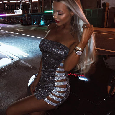 New Out Sequin Dresses Sexy Shining Pencil Dresses Women Side Hollow Out Booty Silver Dress Party Club 2019 New Vestidos