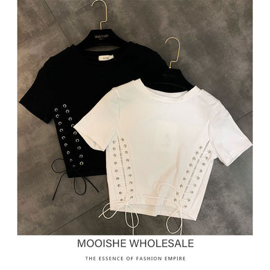 2019 Summer New Round Neck Short-sleeved Side Braided Lace Small Woman Short Tee