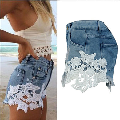 2019 COONIS  Sexy Lace Patchwork Hotpants High Waisted Tassels Denim Shorts  Fashion Short Jeans