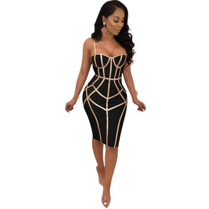 2019 New Summer Women Spaghetti Strap Bandage Sexy  Dress Sexy  Club Vestido Patchwork Party Dresses Sleeveless Bodycon Dress