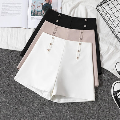 GUMPRUN 2019 New Women Korean Style High Waist Summer Shorts Office Lady Casual Black White Shorts Womens Button Shorts