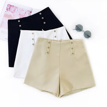 Load image into Gallery viewer, GUMPRUN 2019 New Women Korean Style High Waist Summer Shorts Office Lady Casual Black White Shorts Womens Button Shorts
