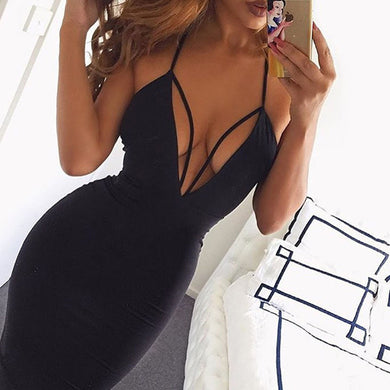 Sexy Women Summer Dress Spaghetti Strap Deep V-Neck Party Dress Clubwear Sleeveless Backless Lace-up Bodycon Dress