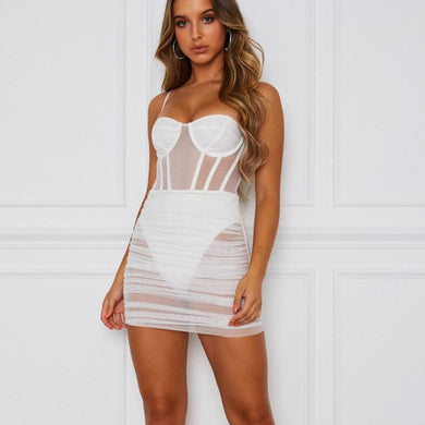2019 Sexy Mesh Transparent Mini Bodycon Dress Sleeveless Beach Spaghetti Strap Dress Women Backless Club Party Package Hip Dress