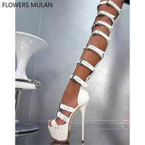 Rome Narrow Band Women Boots Sandals Peep Toe Over The Knee Shoes Woman Sexy Nine Buckle Gladiators Platform Night Club Shoes
