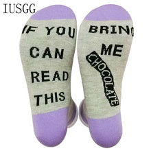 Load image into Gallery viewer, 2 Pairs Humor Words Crew Socks If You Can Read This Bring Me a Chocolate Unisex Funny Xmas Socks Letters Cotton Sock Match Color