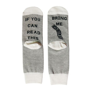 2 Pairs Humor Words Crew Socks If You Can Read This Bring Me a Chocolate Unisex Funny Xmas Socks Letters Cotton Sock Match Color