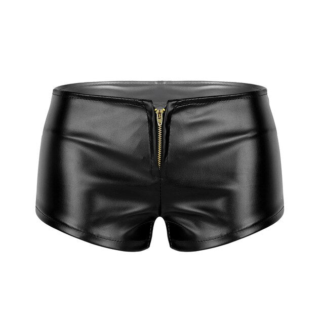 Women Femme Wetlook Punk Sexy Shorts Faux Leather Front Zipper Low Waisted Booty Shorts Mini Hot Shorts Night Clubwear Costumes