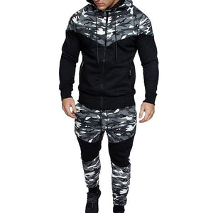Laamei Men Causal Camouflage Print sets Camo Jacket+Pants 2Pc Tracksuit Sportwear  Hoodies Sweatshirt &Pant Suit Plus Size