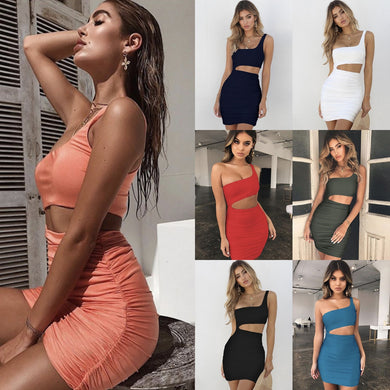 2019 Single Shoulder Suit-dress Sexy Nightclub Package Buttocks Dress