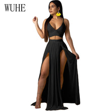 Load image into Gallery viewer, WUHE Women Sexy Bohemian Chiffon Summer Dress Spaghetti Strap V Neck High Waist Beach Dresses High Slit Backless Casual Dress