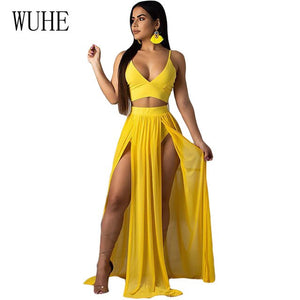 WUHE Women Sexy Bohemian Chiffon Summer Dress Spaghetti Strap V Neck High Waist Beach Dresses High Slit Backless Casual Dress