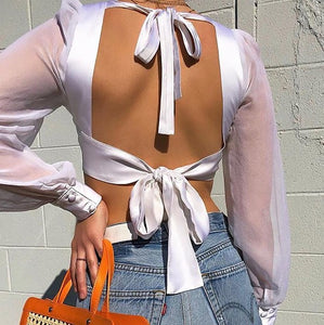 Streetwear Mesh Long Sleeve Crop Top Women Summer White Blouse 2019 Sexy Lace Up Backless Ladies Tops Shirt blusas