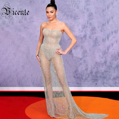 Vicente HOT 2019 New Chic Elegant Net Mesh Embellished Sexy Strapless Celebrity Party Long Dress