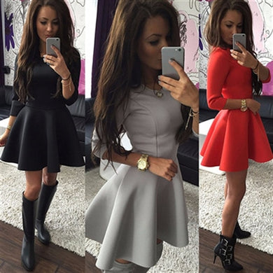 Fashion Women Half-Sleeve A-Line Dress Solid Pleated Sexy Ladies Evening Party Bodycon Mini dress