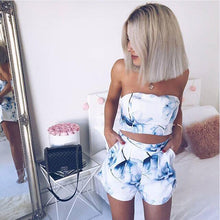 Load image into Gallery viewer, Two Pieces Women Sexy Set Floral Printed Straplessd Cropped Halter Top Fashion 2019 Summer Female Beach Elastic Vest Shorts Sets
