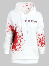 Load image into Gallery viewer, Novelty Plus Size I'M FINE Letter Print Inspired Splatter Halloween Hoodie Blood Hoodies Sweatshirts Women Jumper Pullover